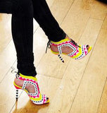 Hot Beading Spliced Heels Sandals Geometry Suede Patchwork Multi Beads Slingback Lace Up Sandals Peep Toe Stage Show Shoes