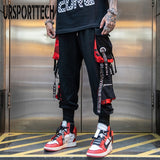 Hip Hop Joggers Men Letter Ribbons Cargo Pants Pockets Track Tactical Casual Techwear Male Trousers Sweatpants Sport Streetwear