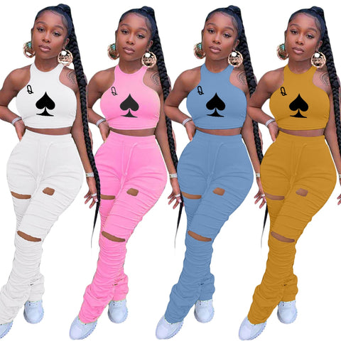 Ladies Sexy 2 PCS Skinny Sets Poker Q Sleeveless Crop Top + Hollow Out Hole Drawstring Long Stacked Pants Summer Women Clothes