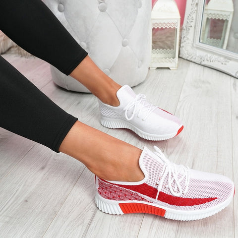 Spring Summer Mesh Sneakers Women Casual Lace-Up Vulcanized Flat Shoes Platform Breathable Outdoor Sport Walking Shoes Footwear