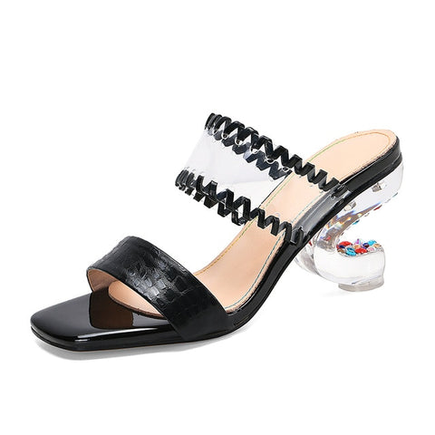 Rainbow Rivets Women Sandals Transparent Strange Heels Summer Shoes Crystal Strass Bling Sandals Embossed Leather Wedding Shoes