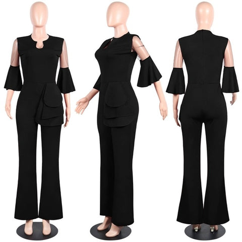 Office Lady Elegant Sexy Jumpsuit Women Mesh Patchwork Ruffle Slim Night Club Party Jumpsuit Autumn Women Casual Jumpsuit Romper