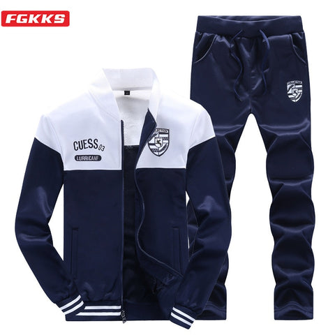 FGKKS Spring Autumn Men Trendy Sports Sets Fashion Brand Men's Baseball Jacket + Pants Sportswear Long Sleeve Tracksuit Set Male