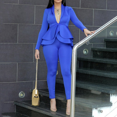 Plus Size Office Ladies Blue Pink 2 Two Piece Set Top and Pants Elegant Female Casual Business Matching Outfits Women Clothing