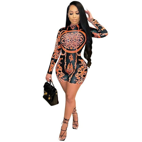 Adogirl Women Vintage Print Short Jumpsuit Long Sleeve Turtleneck Bodycon Romper Party Club Skinny Bodysuit One Piece Overall