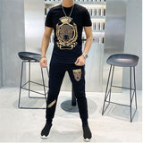 High-quality diamond 2020t-shirt suit casual sportswear men's 2-piece handsome design