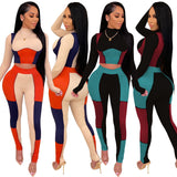 Fashion Active Color Block Patchwork Tracksuit Women Jogger Casual Fitness Long Sleeve Crop Top + Pants Slim Club Two Piece Set