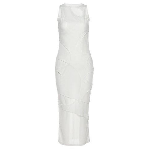 Sexy Women White Black Dress Hollow Out Long Dresses Solid Color Sleeveless Party Night Clubwear Dresses Vestidos