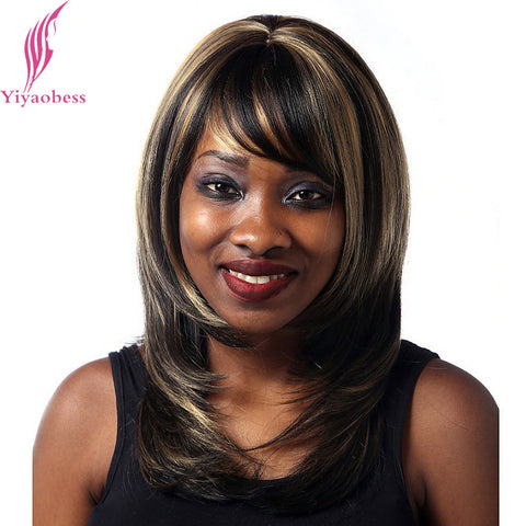 Yiyaobess 40cm Straight Dark Brown Highlights On Hair Heat Resistant Synthetic Middle Part Shoulder Length Womens Wigs With Bang - WFimports