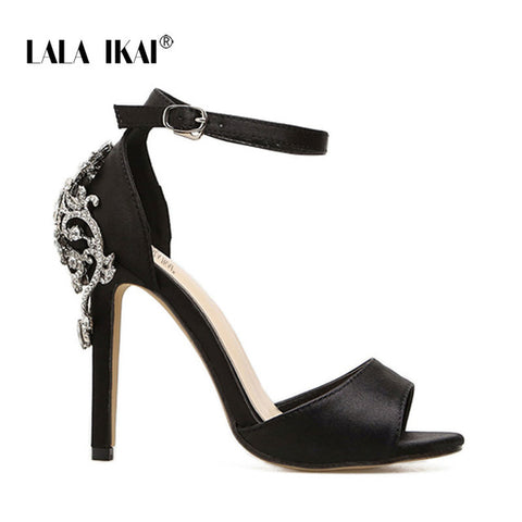 LALA IKAI Women Crystal Glitter Sandals Pump 2018 High Heels 11CM Sandals Lady Chic Cover Heel Party Sexy Shoes 014C1195 -4 - WFimports