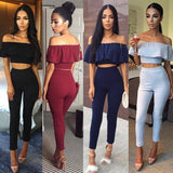 New Fashion Women Clothing Short Sleeve Crop Top Blouse + Long Pants Two-piece Playsuit Outfit Clothes Set - WFimports