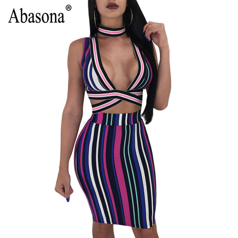 c1bc05625814bf Abasona Women Striped Dresses Summer Sleeveless Bodycon Pencil Dress Sexy  Club Wear Two Pieces Outfit Women