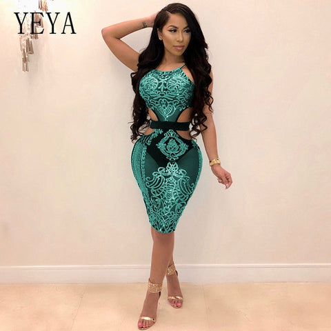 YEYA Women Sequin Dresses Halter Backless Hollow Out Party Night Club Dress Sexy See Through Bodycon Mesh Dresses Vestidos Femme - WFimports