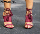 Peep Toe Snakeskin Python Chain Lace-up Fringe Thin High Heel Women Shoes Solid Casual Black Red Nude Green Sexy Fashion Sandal