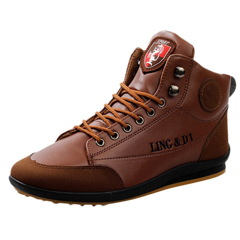 Fashion Men's Shoes High Quality Leather Boots Sports Casual Shoes British Style Vintage Shoe Winter Keep Warm Shoe Boots - WFimports