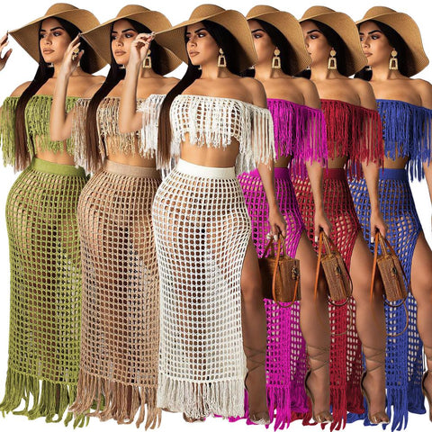 Richietrade Casual Knitted Women Skirt Set Slash Neck Crop Top Long Slit Skirt Hollow Out Beach Skirt Suit Two Pieces Women Set - WFimports