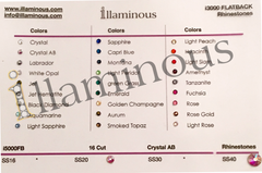 Flatback rhinestones Crystals | Colors Chart | illaminous