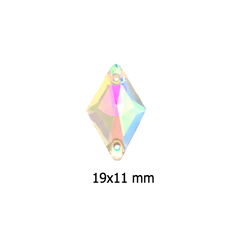 CRYSTAL AB 19x11mm Rhombus SEW ON Rhinestones i7059