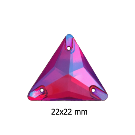 Light Siam AB 22x22mm Triangle SEW ON Rhinestones i7057