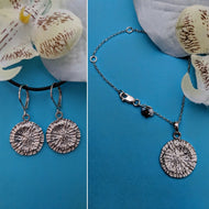 Mini Strength Shark Disc Pendant and Earrings Set
