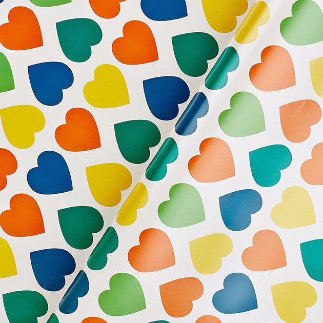 Rainbow Heart Flat Wrapping Paper