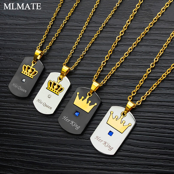 His Queen Her King Pendant Necklace-nbemporium.com