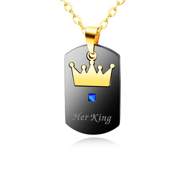 His Queen Her King Pendant Necklace