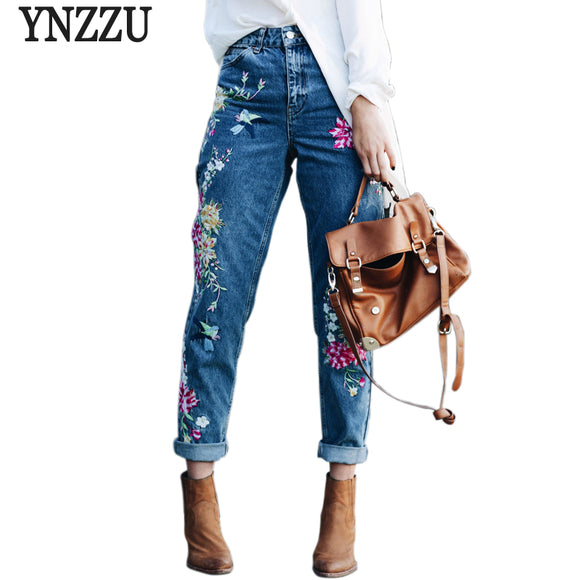 Full Length Flower Embroidery High Waist Jeans-nbemporium.com
