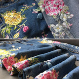 Full Length Flower Embroidery High Waist Jeans