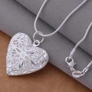 Silver photo frame Heart Pendant Necklace Fashion Jewelry classic Valentine's Day gift Top quality-nbemporium.com