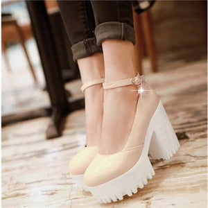 1.7 Inch Height  Chunky MJ Platform Heels-nbemporium.com