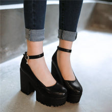 Load image into Gallery viewer, PXELENA Mary Janes Punk Womens Round Toe Block Chunky High Heel Platform Plus Size US4.5-10.5-Nikkis Beauty Emporium