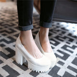 PXELENA Mary Janes Punk Womens Round Toe Block Chunky High Heel Platform Plus Size US4.5-10.5-Nikkis Beauty Emporium