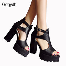 Load image into Gallery viewer, Ankle Wrap Summer Platform High Heel Sandals-nbemporium.comm