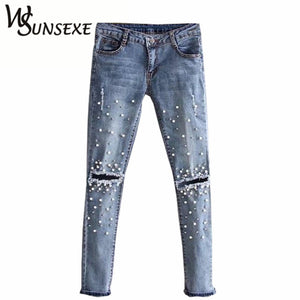 Knee Hole Ripped Jeans Women Stretch Denim Pencil Pants Casual Slim Fit