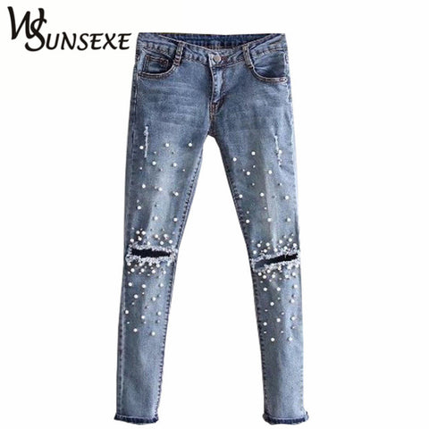 Knee Hole Ripped Jeans Women Stretch Denim Pencil Pants Casual Slim Fit Rivet Pearl Jeans Summer Long Trousers Low Waist Cowboy-Nikkis Beauty Emporium