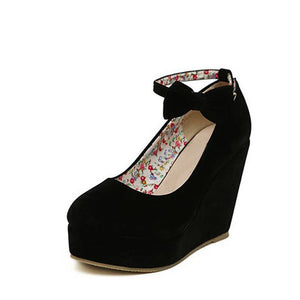 Round Toe Wedge Buckle Ankle Strap High Heel Platform Shoes