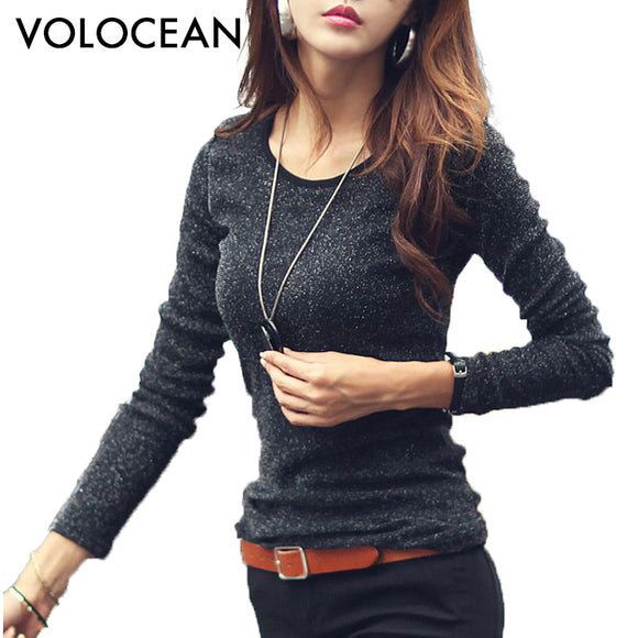 VOLOCEAN Famous Brand Tshirt 2017 Autumn Winter T-shirts For Women Classic Long-sleeve T Shirt Woman Plus Size Female T-shirt-Nikkis Beauty Emporium