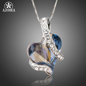 AZORA Forever Love Light Blue Heart Stellux Austrian Crystal Classic Pendant Necklaces for Valentine's Day Gift of Love TN0195-nbemporium.com