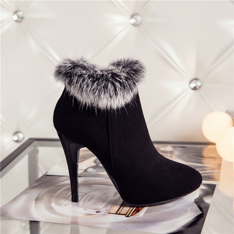 Meotina Sexy Women Boots Winter High Heels Ankle Boots Shoes Women Fall Ladies Short Boots Snow Fur Zip White Red Big Size-Nikkis Beauty Emporium