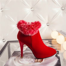 Load image into Gallery viewer, Meotina Sexy Women Boots Winter High Heels Ankle Boots Shoes Women Fall Ladies Short Boots Snow Fur Zip White Red Big Size-Nikkis Beauty Emporium