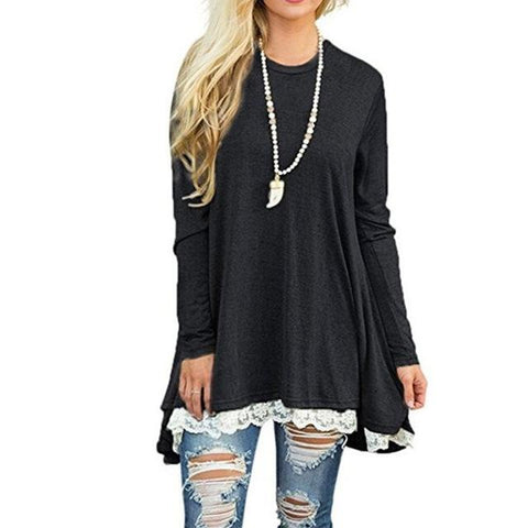 Loose Casual Work Blouses Lace Up Shirt
