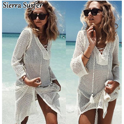 Saida De Praia Summer Beach Wear Dress Tunic Pareos For Women 2018 Skirt Knitting Hollow Bandage Longa Kaftan Beach Cover Up-nbemporium.com