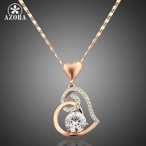 AZORA Rose Gold Color Stellux Crystals Heart Pendant Necklace for Valentine's Day Gift of Love TN0009-nbemporium.com
