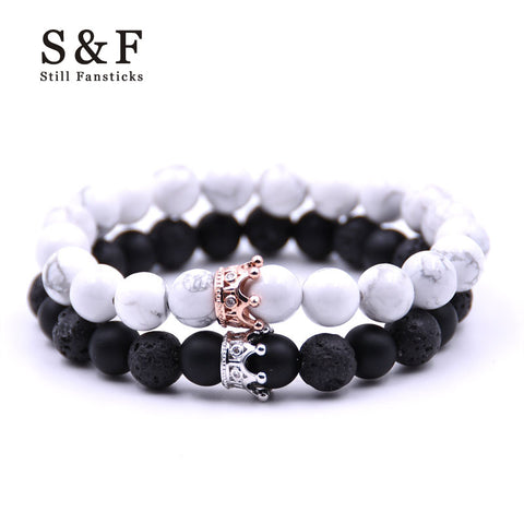 Couple Bracelet Charms Stone Beads Men Jewelry Crown Bracelets For Women Bangles Pulseira Masculina Bileklik Pulseira Feminina-nbemporium.com