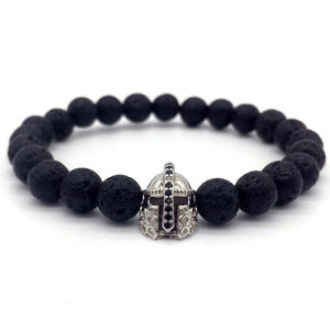 2018 Hot Trendy Lava Stone Pave CZ Imperial Crown Charm Bracelet For Men Or Women-nbemporium.com