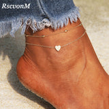 RscvonM Heart Anklet Chain anytime wear Jewelry-nbemporium.com