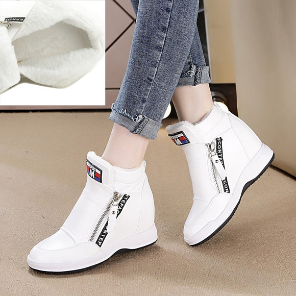 Platform Casual Sneakers with Wedge Side Zipper-nbemporium.com