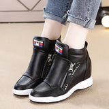Platform Casual Sneakers with Wedge Side Zipper