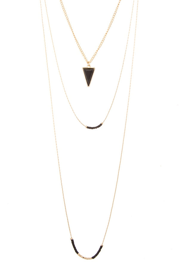Layered Black Triangle Accent Necklace